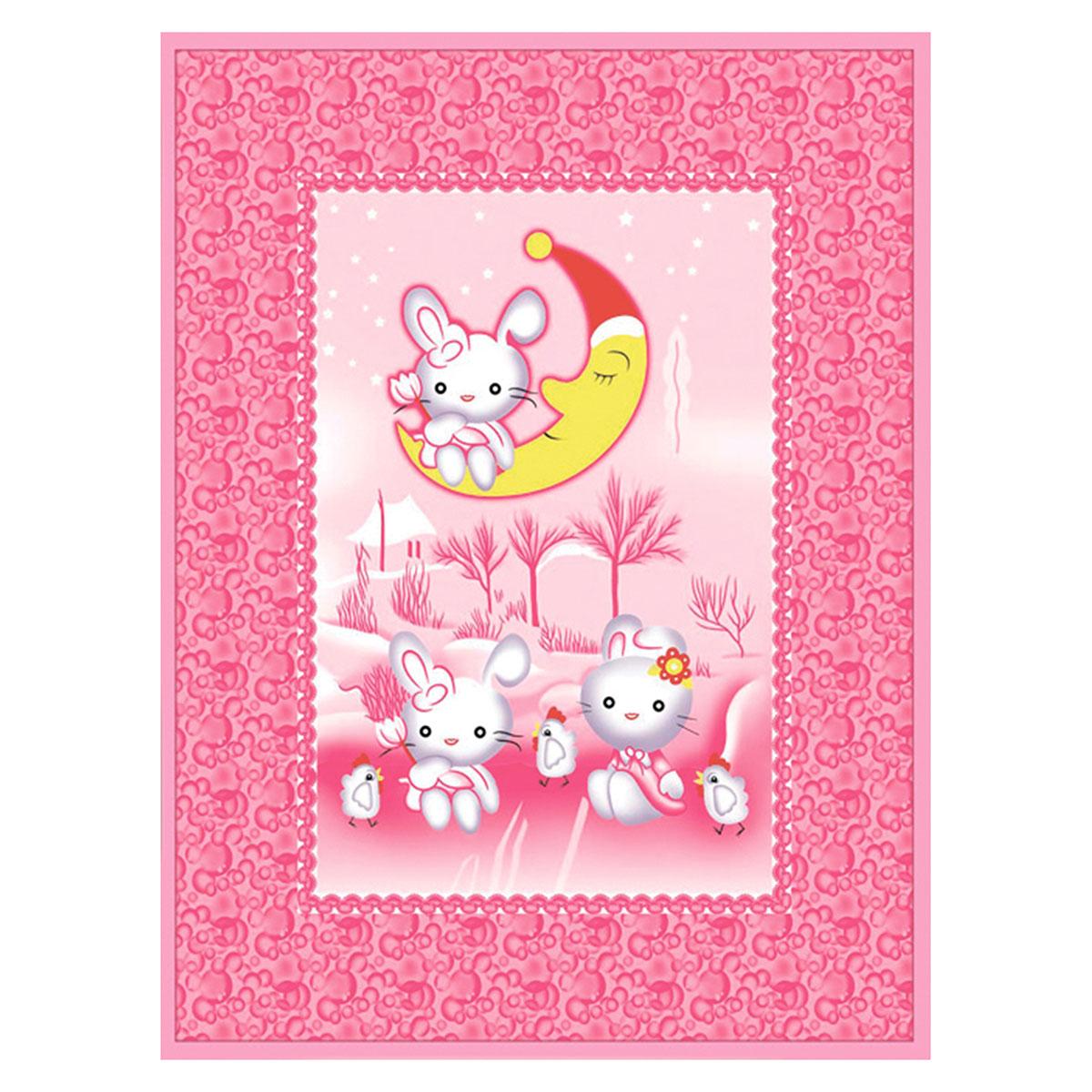 Одеяло Baby Nice байковое 100% хлопок 100х140 Зайка на луне (голубой, розовый, зеленый)