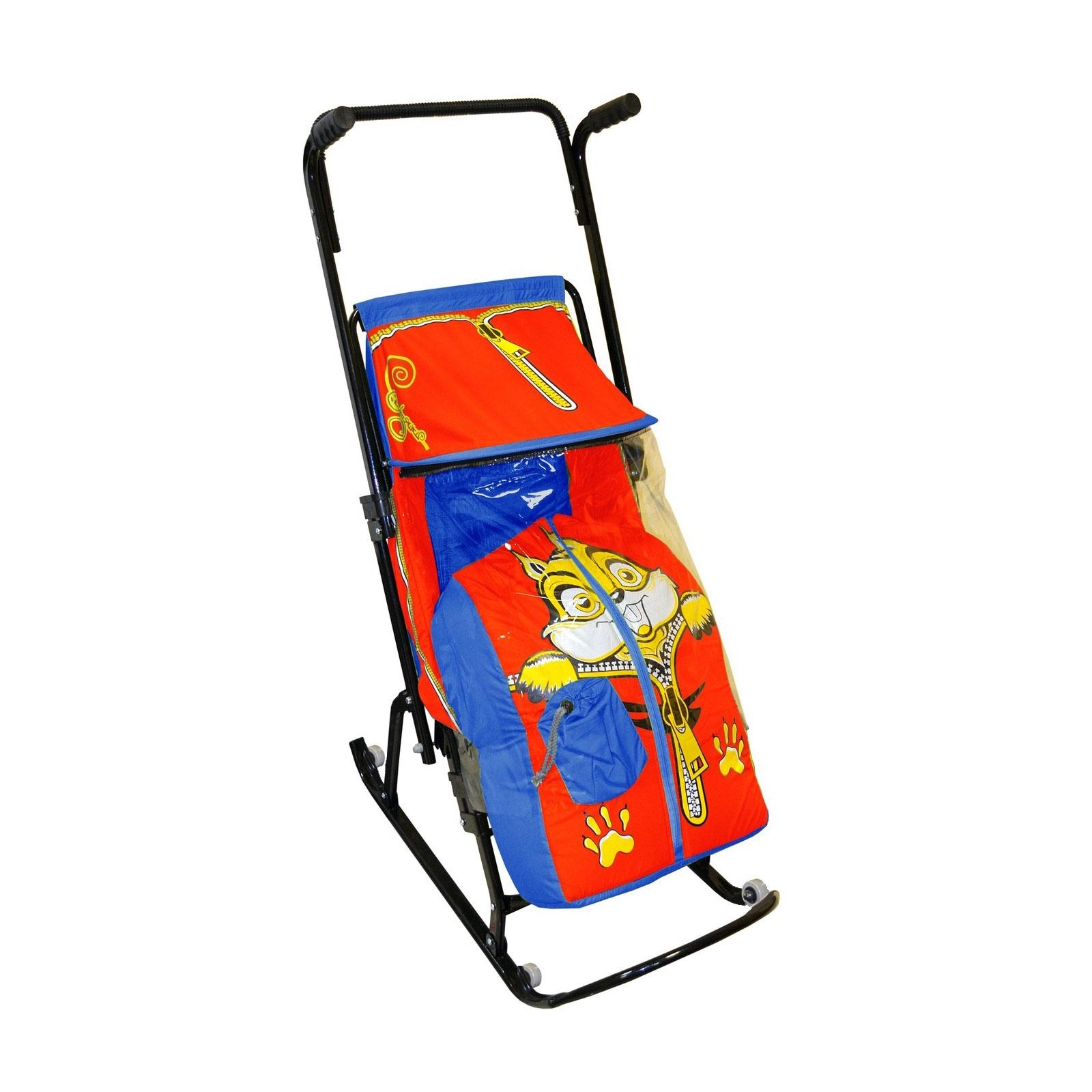 Санки-коляска Снегурочка 4-Р Бельчонок Синие с красным