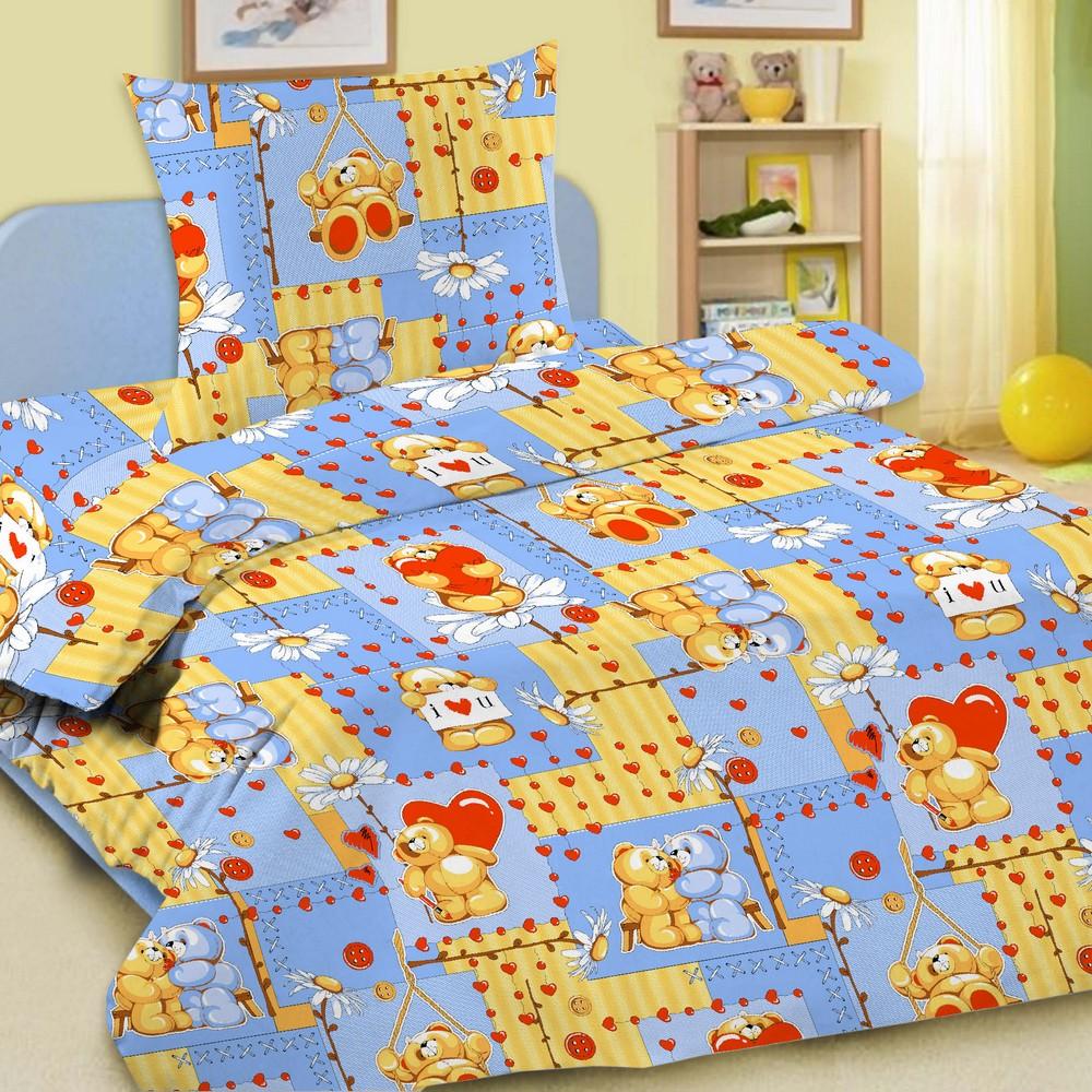Комплект постельного белья детский Letto Барни 1.5 спальный с наволочкой 50х70 Голубой<br>