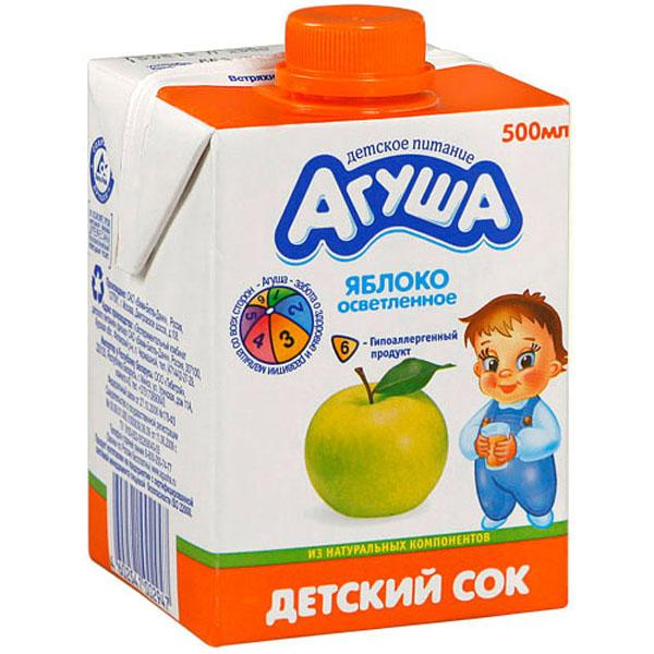 Сок Агуша 500 мл (тетрапак) Яблочный осветленный (с 3 лет)<br>