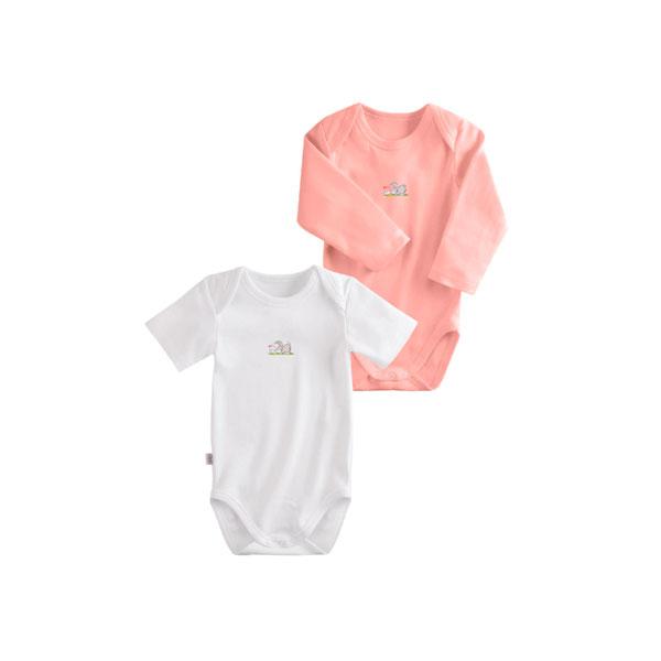 Комплект Наша Мама Be happy боди (2 шт) рост 74 белый, розовый<br>