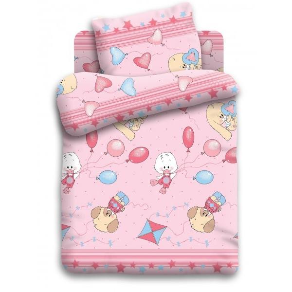 Комплект постельного белья детский бязь Непоседа Кошки-мышки Веселые друзья Розовый<br>