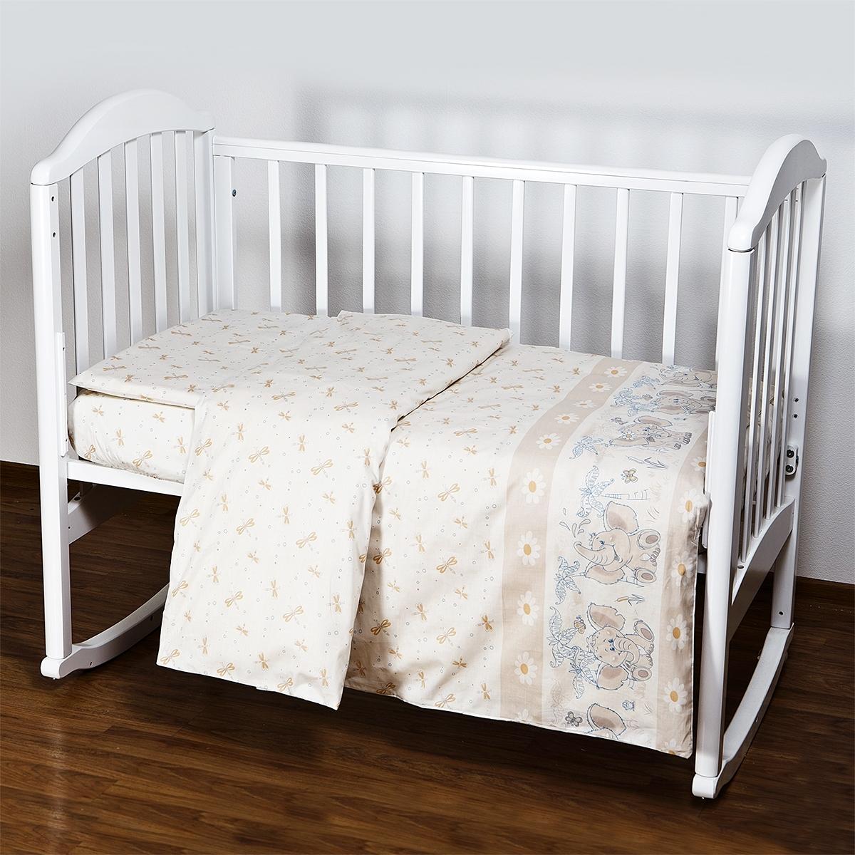 Комплект постельного белья  Baby Nice Элит Слоники (бежевый, голубой, розовый)<br>