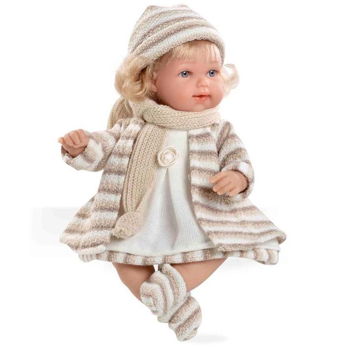 Кукла Arias 33 см Блондинка функциональная в теплой бежевой одежке<br>