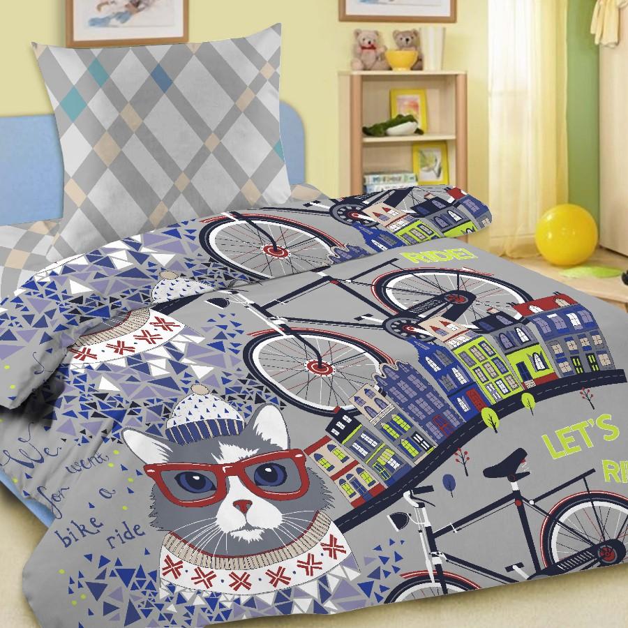 Комплект постельного белья детский Letto Велокот с наволочкой 50х70