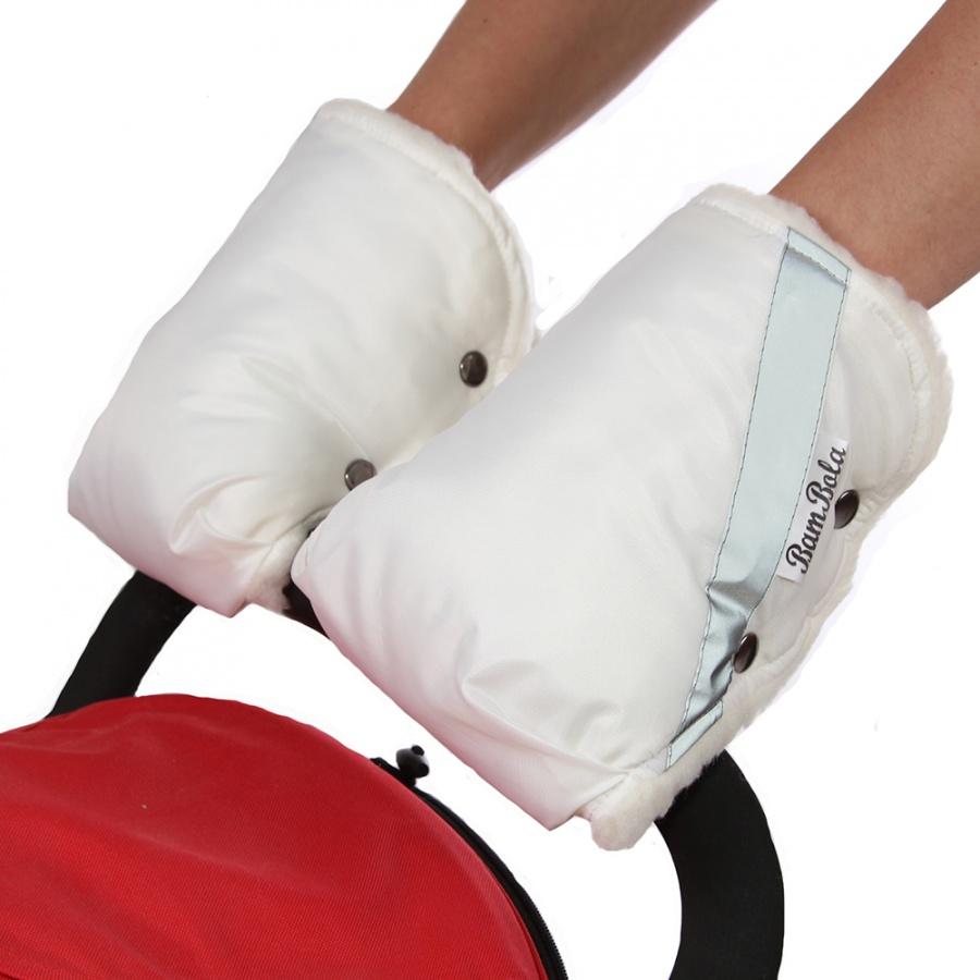 Муфта-варежки Bambola для коляски шерстяной мех плащевка Белый<br>