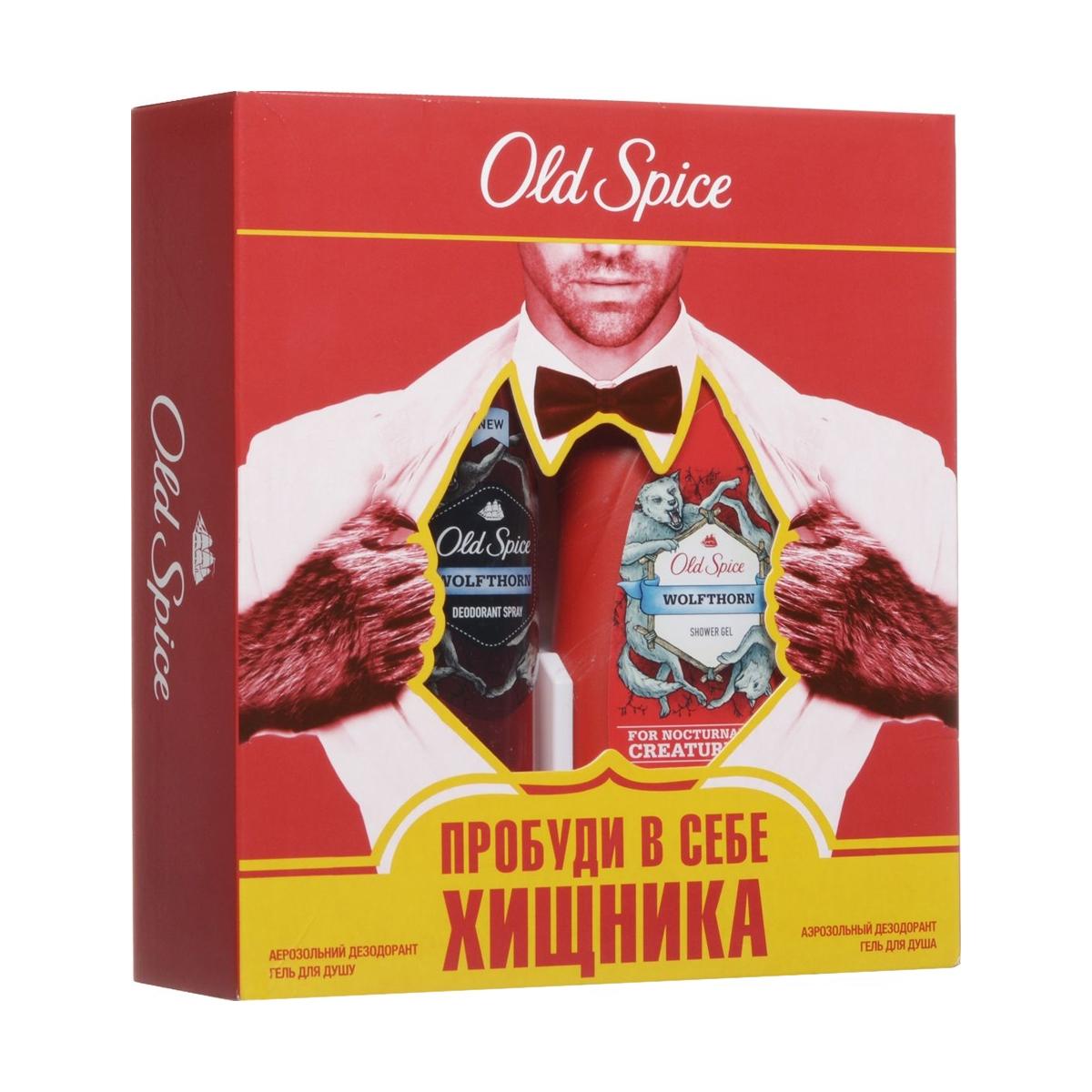 Подарочный набор Оld Spice Аэрозольный дезодорант Wolfthorn 125 мл + гель для душа Wolfthorn 250 мл<br>
