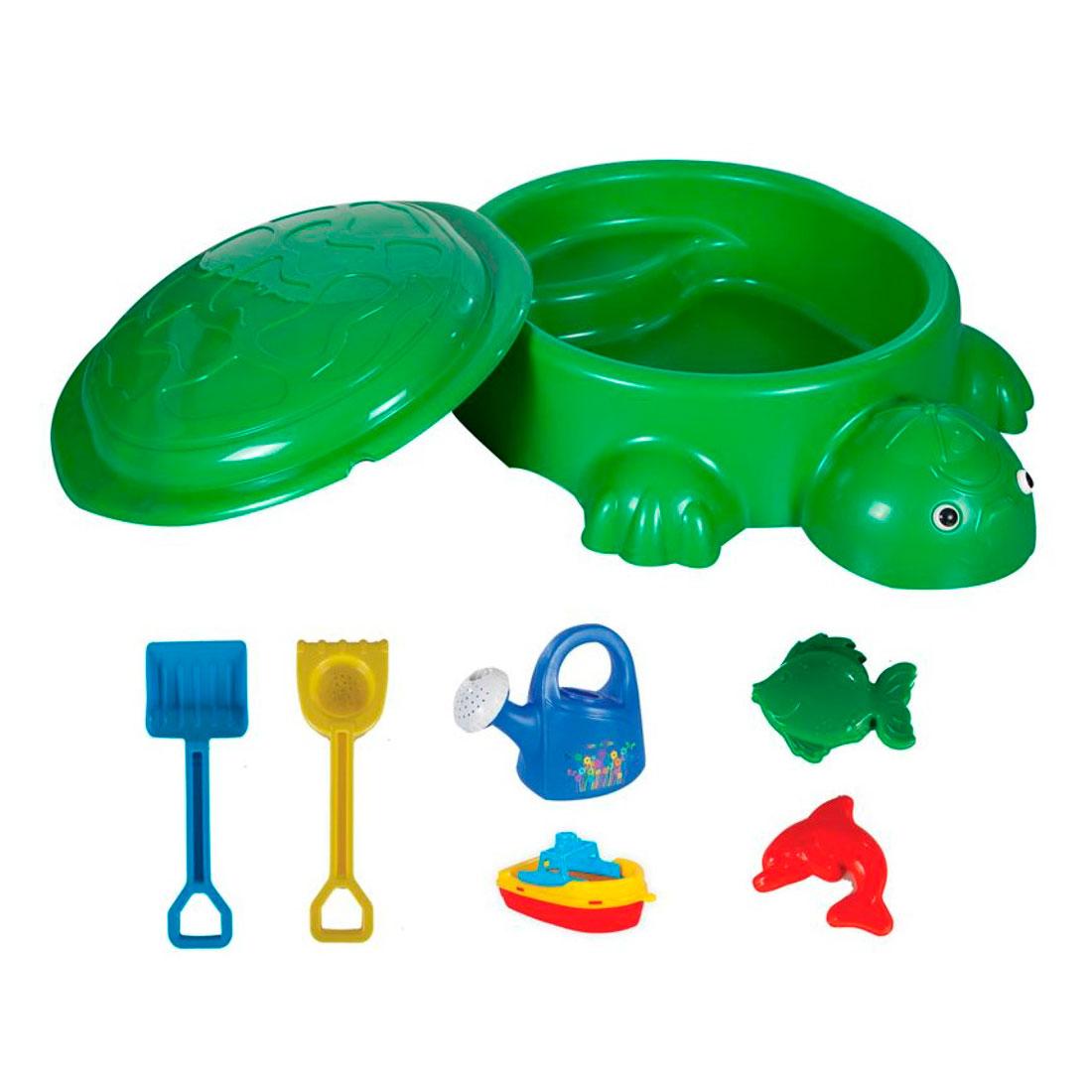 Песочница Pilsan Черепаха с крышкой и игрушками<br>