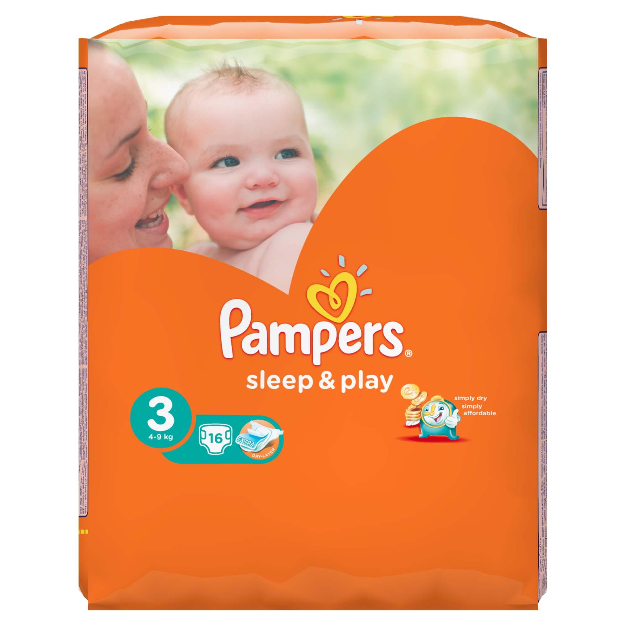 Подгузники Pampers Sleep&amp;amp;Play Midi 4-9 кг (16 шт) Размер 3<br>
