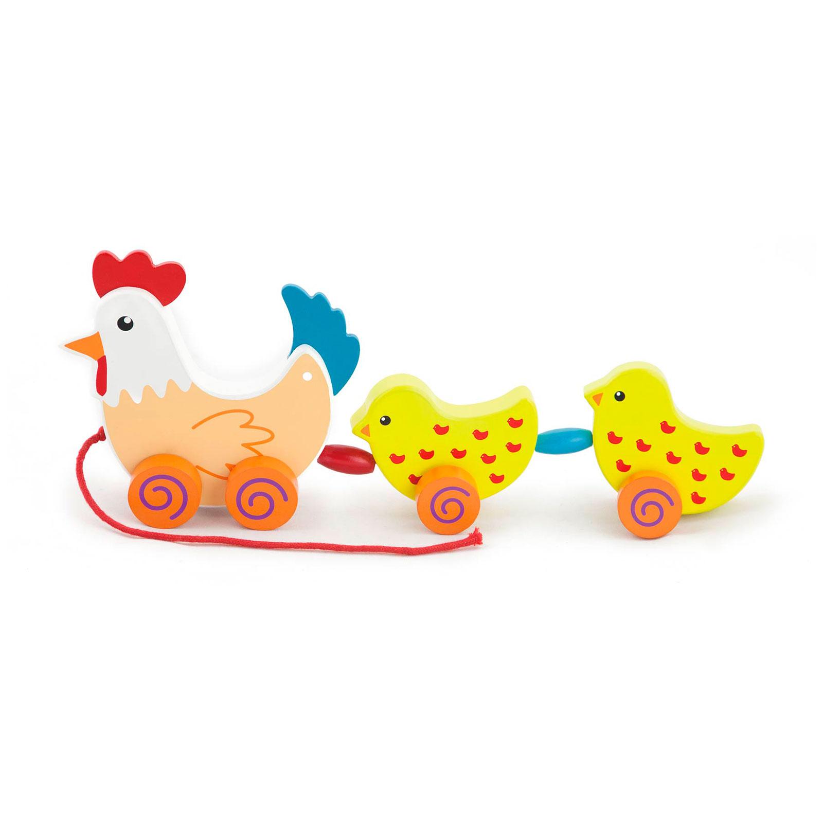 Каталка Viga Курочка с цыплятами на веревочке<br>