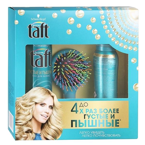 Набор Taft Густые и пышные Лак для волос 225 мл + пена для укладки 150 мл + расческа-радуга с цветными щетинкам<br>