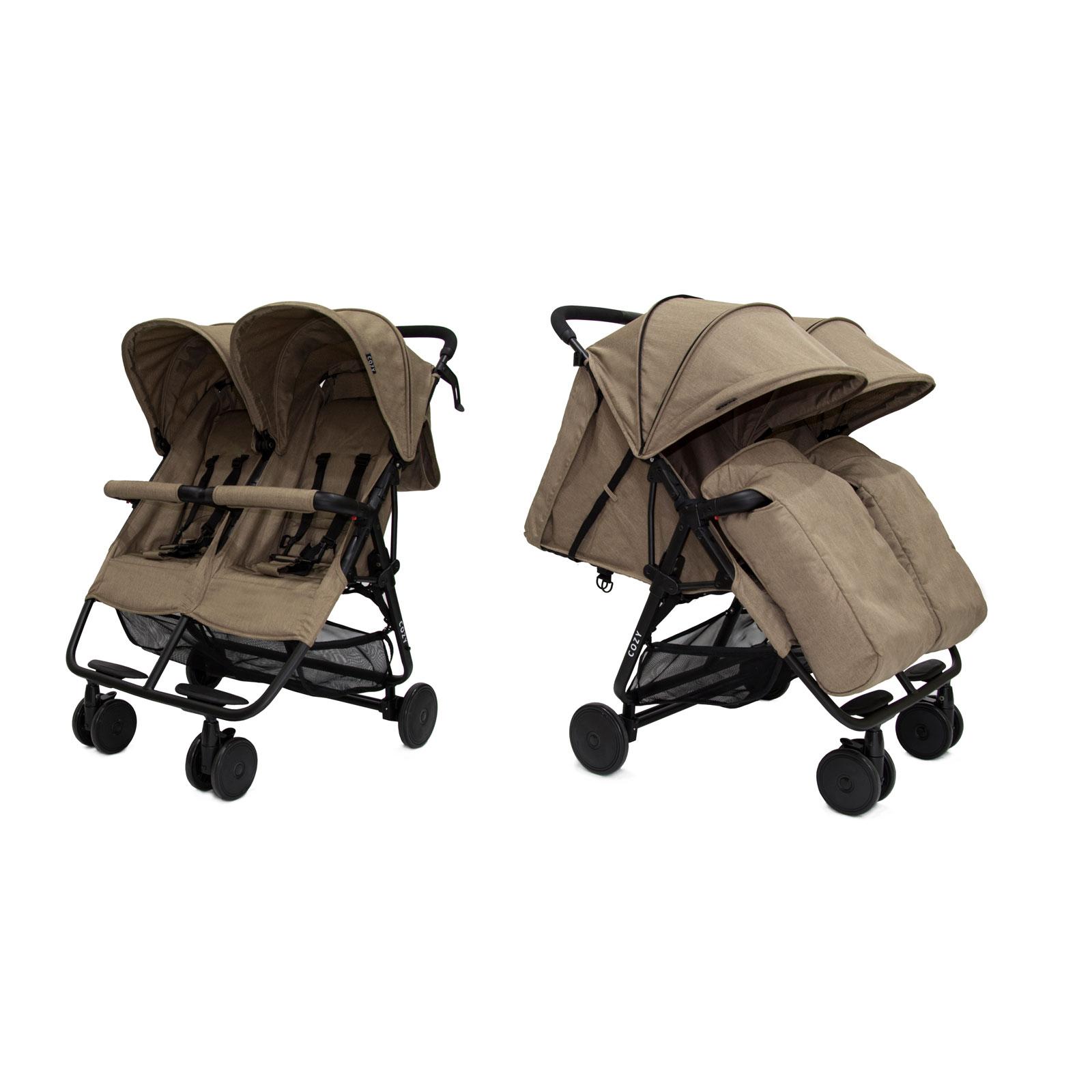 Прогулочная коляска для двойни Cozy Smart Dark Sand Melange<br>