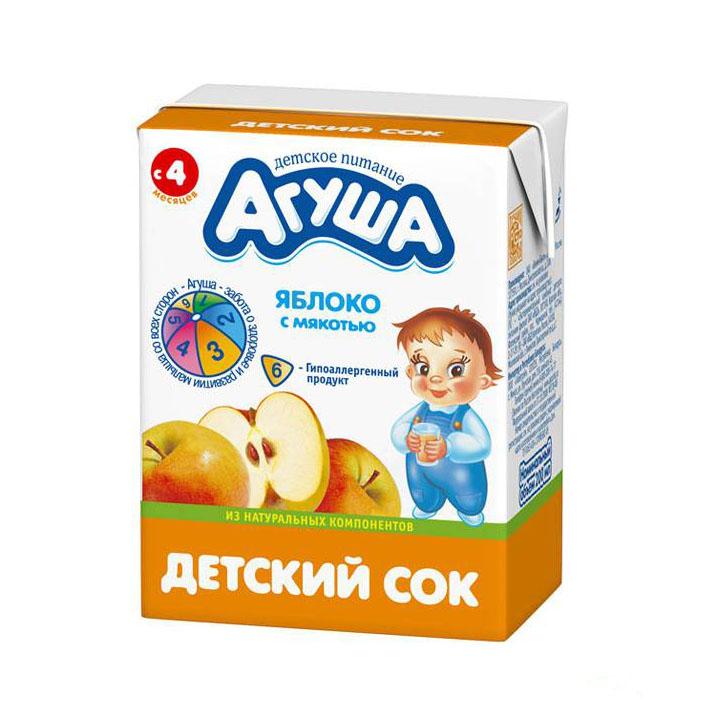 Сок Агуша 200 мл (тетрапак) Яблоко с мякотью (с 4 мес)<br>