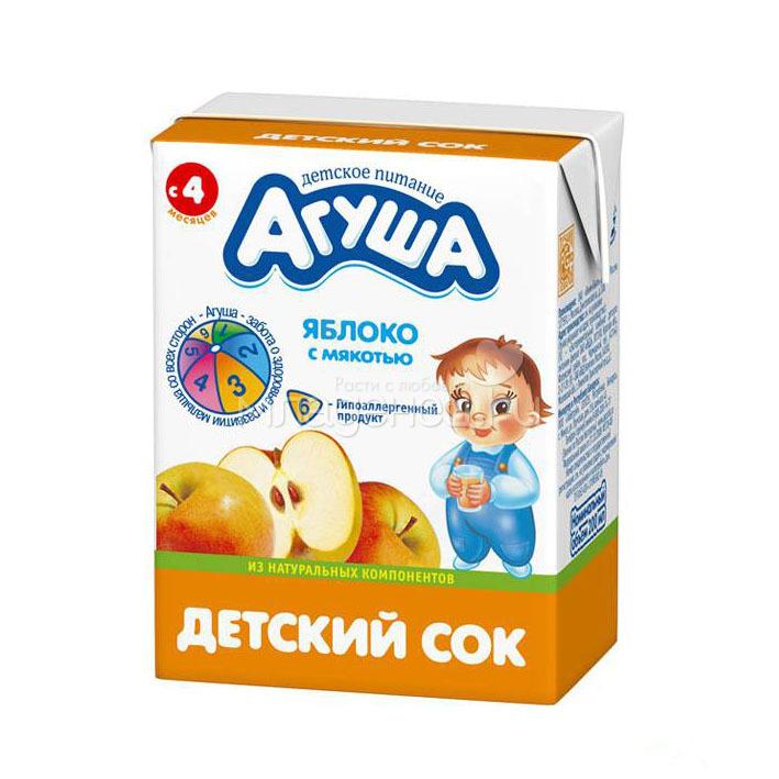 Сок Агуша 200 мл. (без сахара, тетрапак) Яблоко с мякотью (с 4 мес.)