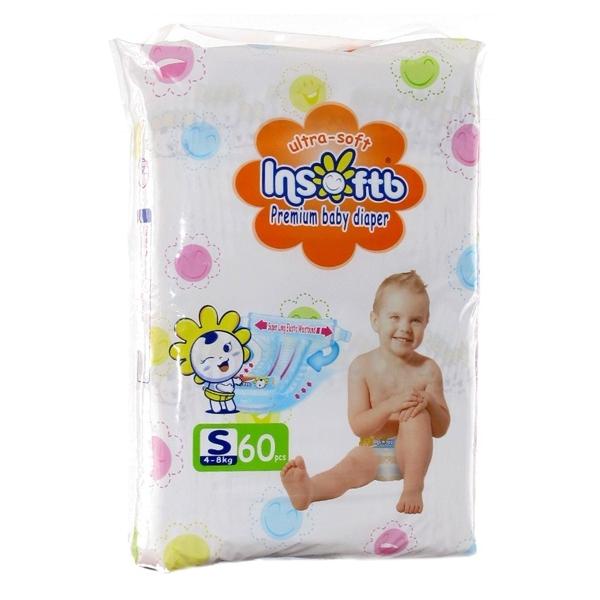 Подгузники Insoftb Premium Ultra-soft 4-8 кг (60 шт) Размер S<br>