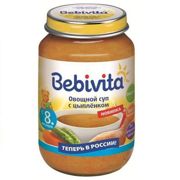 Пюре Bebivita суп овощной 190 гр С цыпленком (с 8 мес)<br>