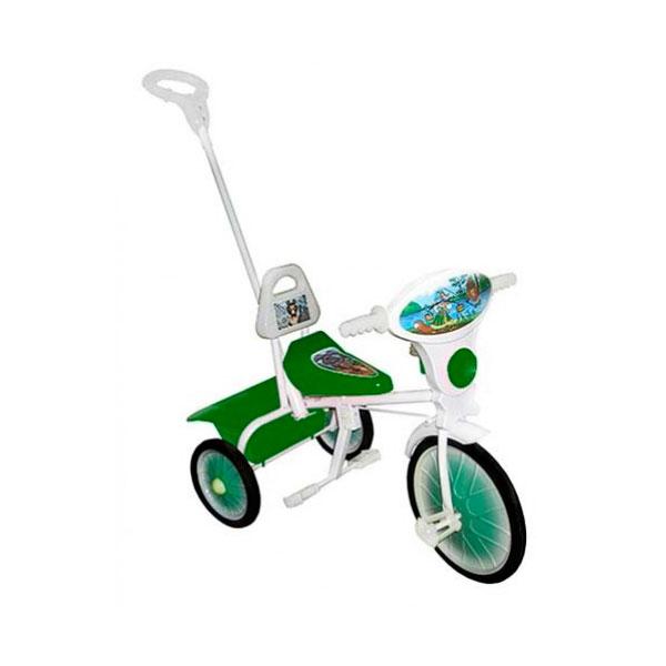 Велосипед трехколесный Малыш с ручкой Зеленый<br>