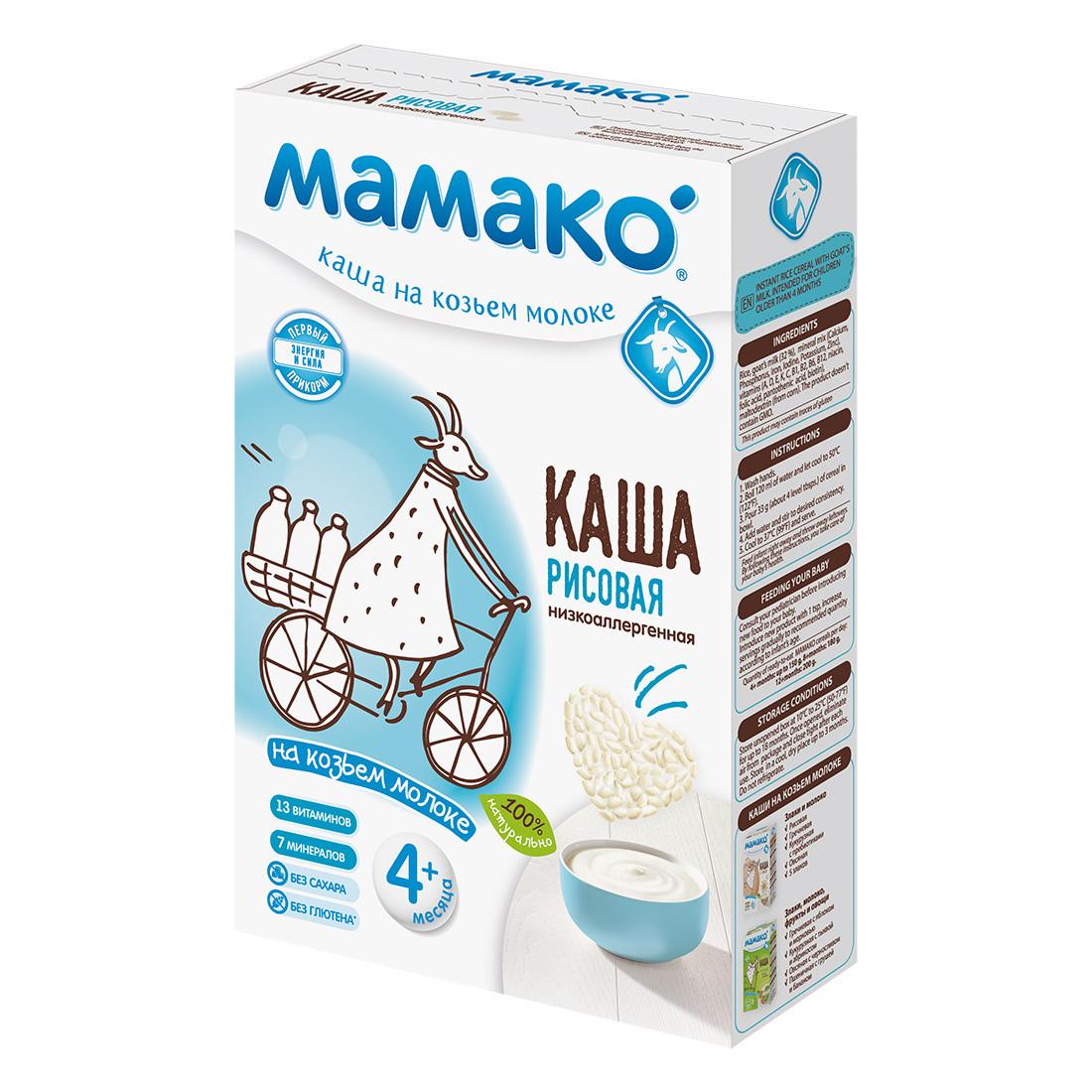 Каша Mamako на козьем молоке 200 гр Рисовая (с 4 мес)<br>