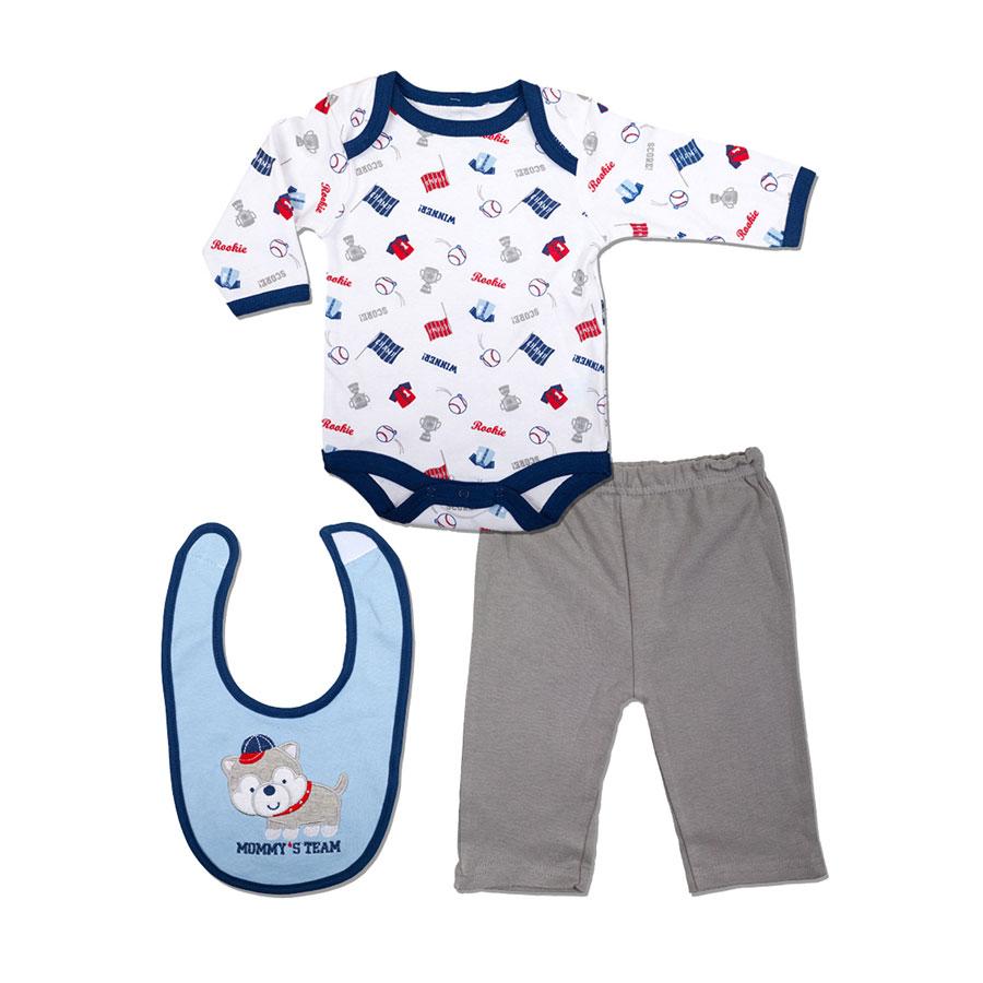 Комплект Bon Bebe Бон Бебе для мальчика: боди длинный рукав, штанишки, нагрудник, цвет голубой-серый 0-3 мес. (45-61 см)