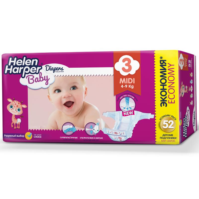 Подгузники Helen Harper Baby Midi 4-9 кг. (52 шт.) Размер 3<br>