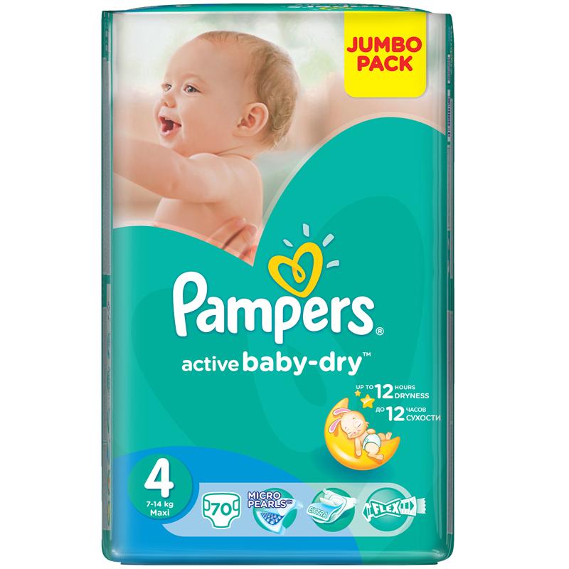 Подгузники Pampers Active Baby Maxi 7-14 кг (70 шт) Размер 4
