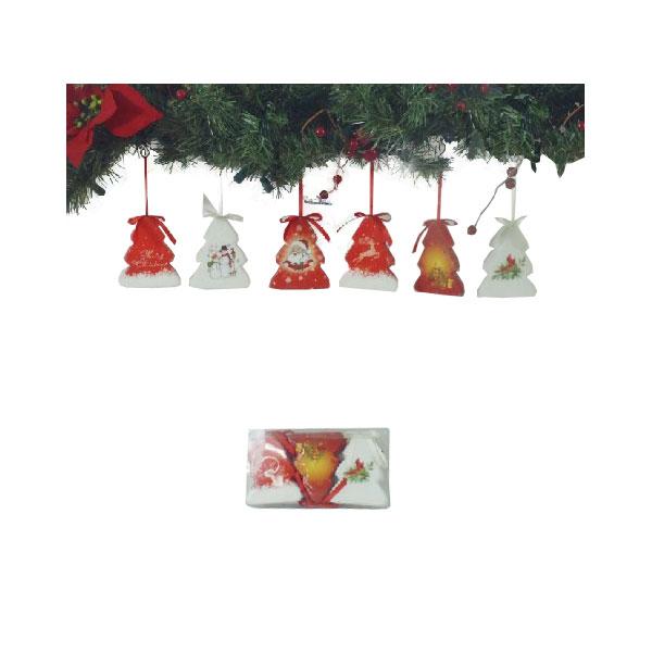 Набор украшений Winter Wings Елочки Нежный узор Блестящие 7.5х9 см 3 штуки в прозрачной коробке<br>