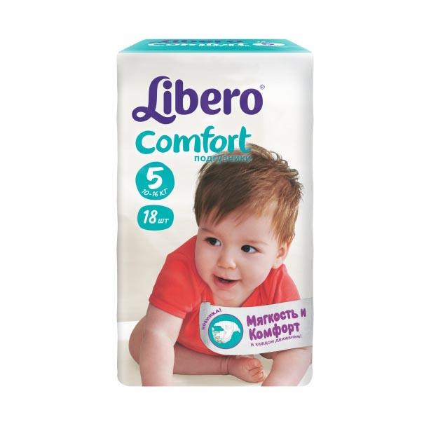 Подгузники Libero Comfort Maxi+ 10-16 кг (18 шт) Размер 5<br>