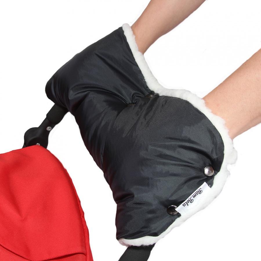 Муфта Bambola для коляски шерстяной мех плащевка кнопки Лайт Черный<br>