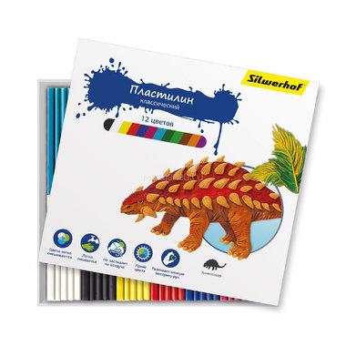 Пластилин Silwerhof 12 цветов 180 гр Динозавры