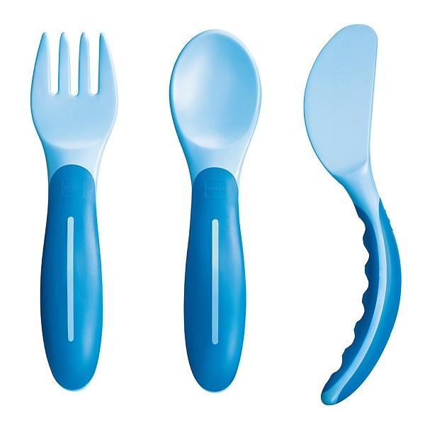 Набор MAM столовых приборов С 6 мес (вилка,ложка,нож) голубой<br>