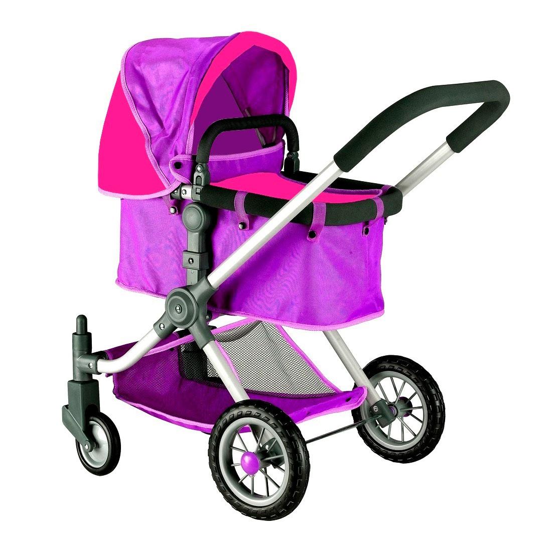 Кукольная коляска RT 646 Фиолетовый и фуксия<br>