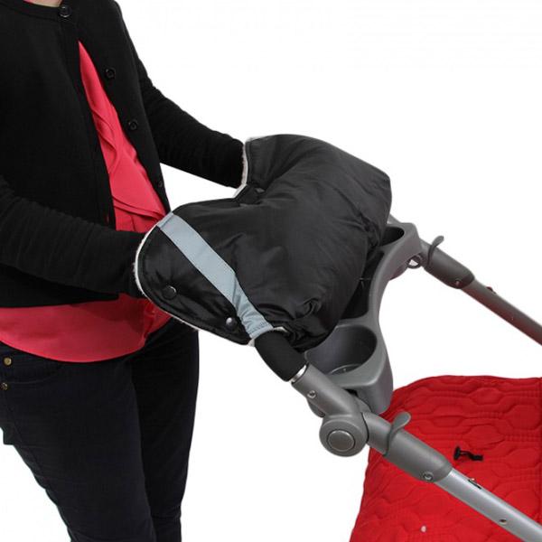 Муфта Bambola для коляски шерстяной мех плащевка кнопки Черный<br>