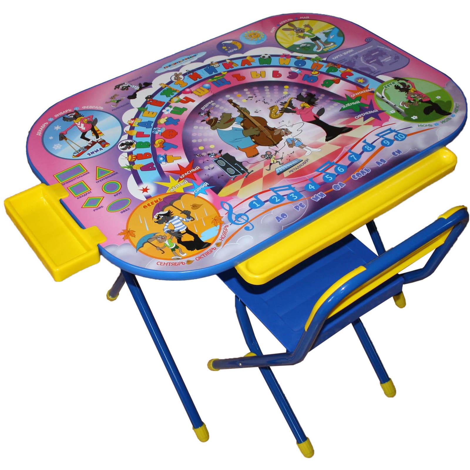 Набор мебели стол и стул Дэми Дошкольник Ну погоди Синий<br>