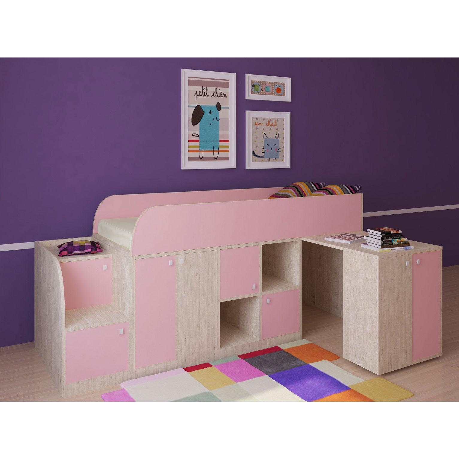 Набор мебели РВ-Мебель Астра мини Дуб молочный/Розовый