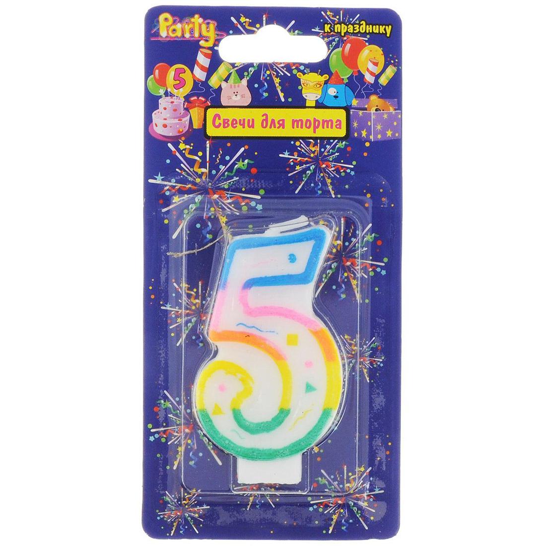 Свеча-Цифра ACTION!  для торта 5 разноцветная 7см<br>
