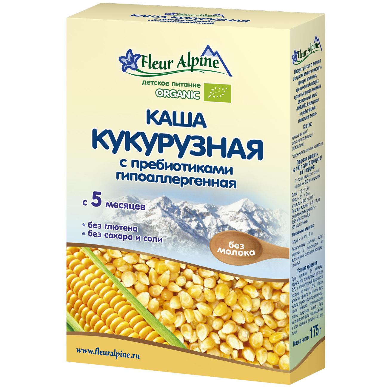 Каша Fleur Alpine Органик безмолочная 175 гр Кукурузная с пребиотиками (с 5 мес)<br>