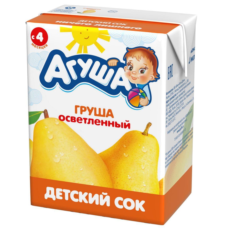Сок Агуша 200 мл (тетрапак) Груша осветленный с 4 мес<br>