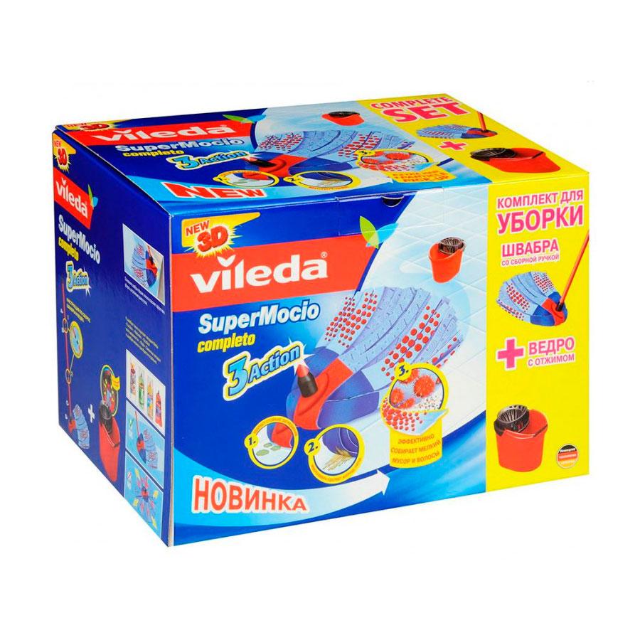 Набор Vileda Super Mocio Completo ленточная швабра Вишмоп + ведро + насадка<br>
