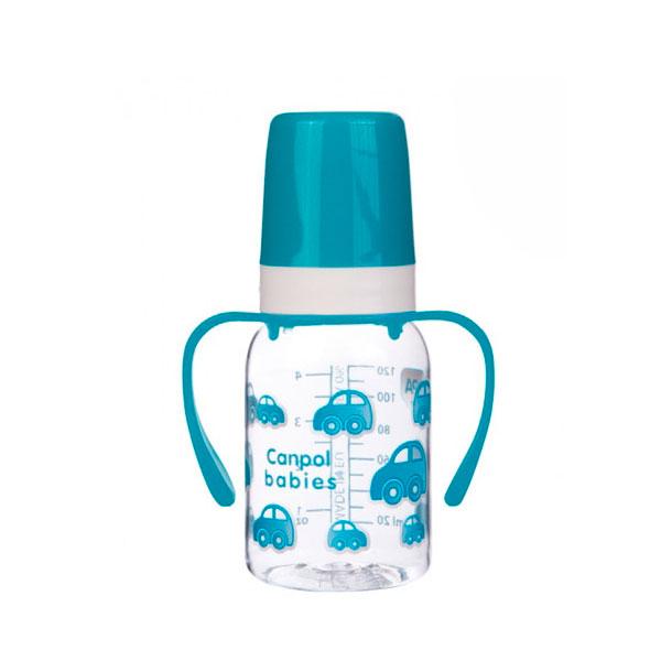 Бутылочка Canpol Babies с силиконовой соской с ручками бирюзовая (с 3 мес)<br>