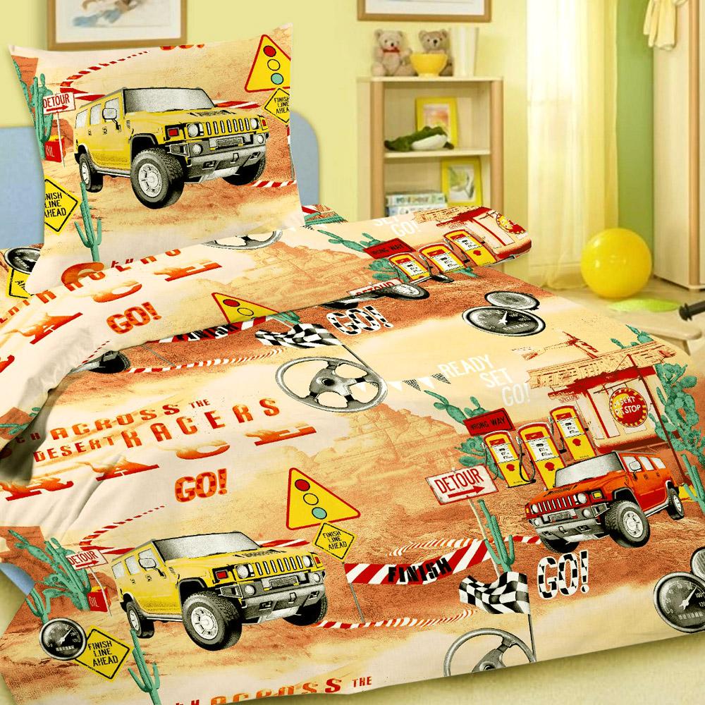 Комплект постельного белья детский Letto Race Желтый  с наволочкой 50х70<br>