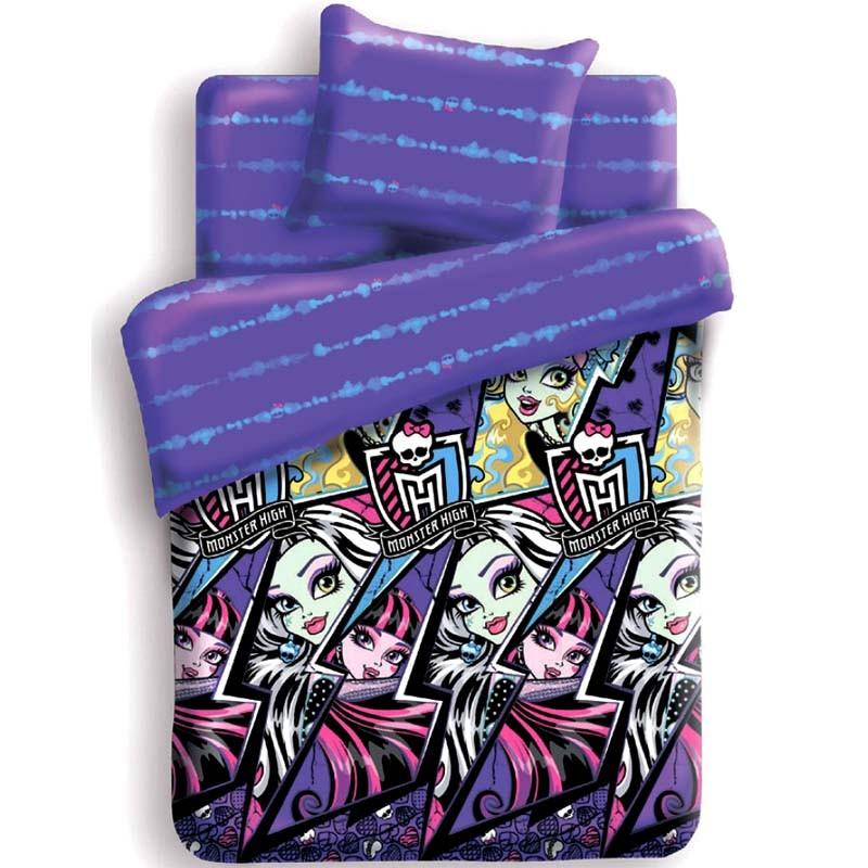 Комплект постельного белья детский 1.5 поплин Непоседа Monster High с наволочкой 70х70 Молнии<br>