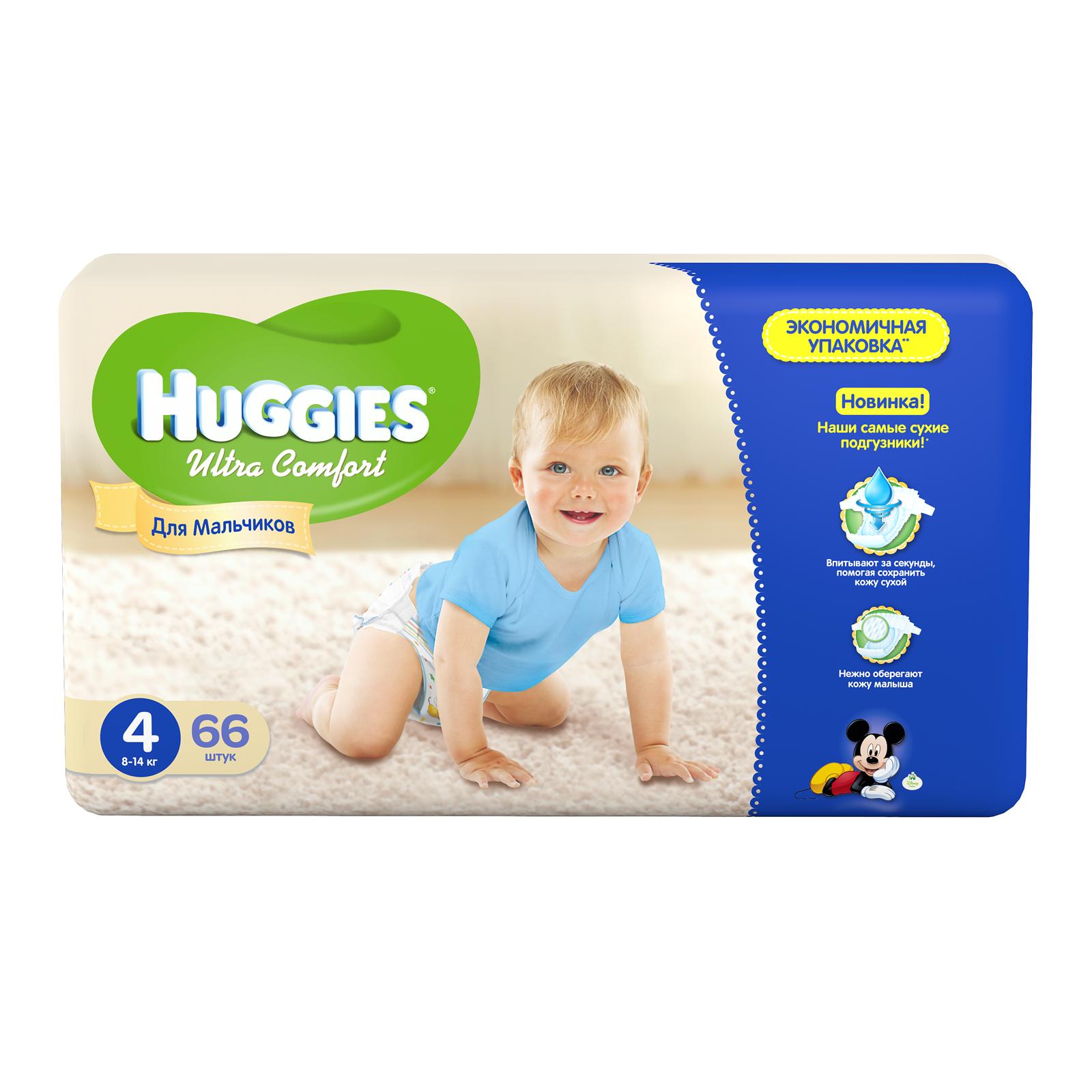 Подгузники Huggies Ultra Comfort Mega Pack для мальчиков 8-14 кг (66 шт) Размер 4
