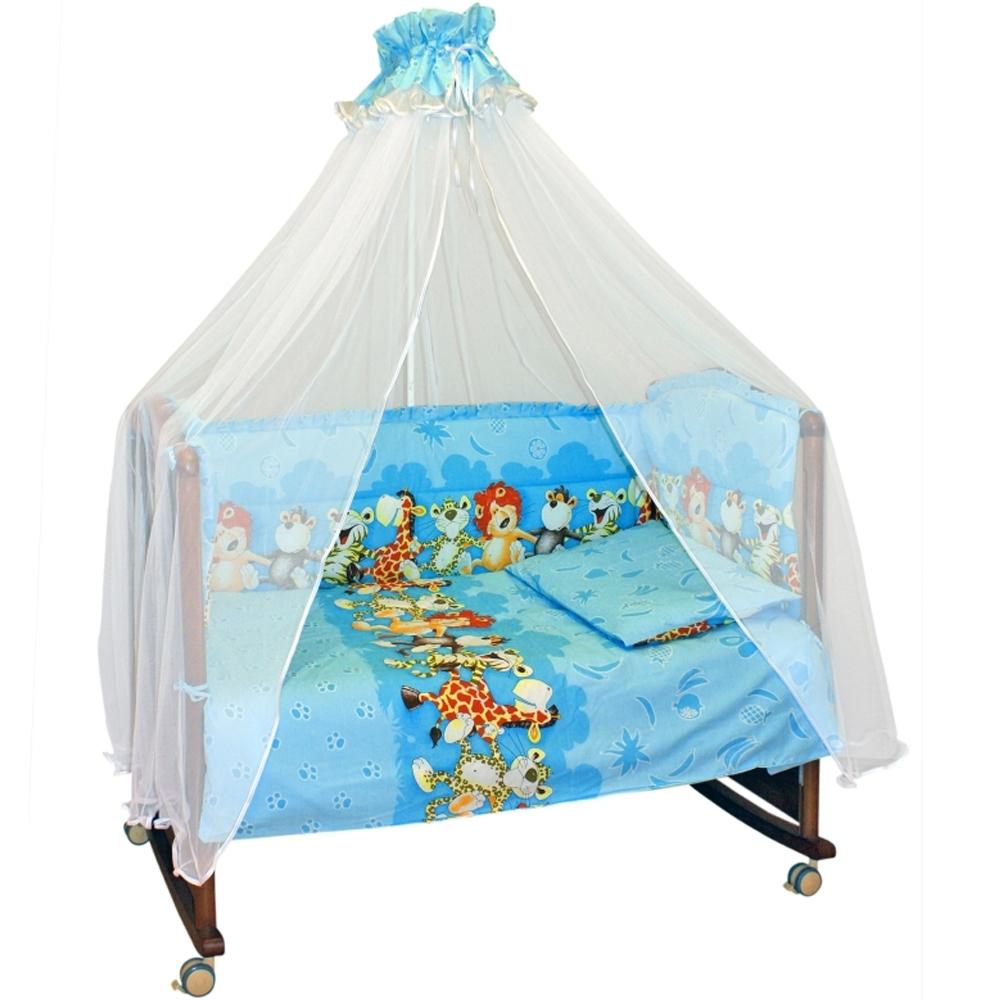 Борт в кроватку Сонный гномик Африка Голубой<br>