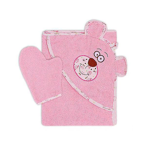 Полотенце-уголок Осьминожка Мишка с вышивкой махровое Розовое<br>