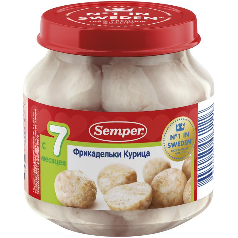 Пюре Semper фрикадельки в бульоне 125 гр Из курицы (с 7 мес)<br>