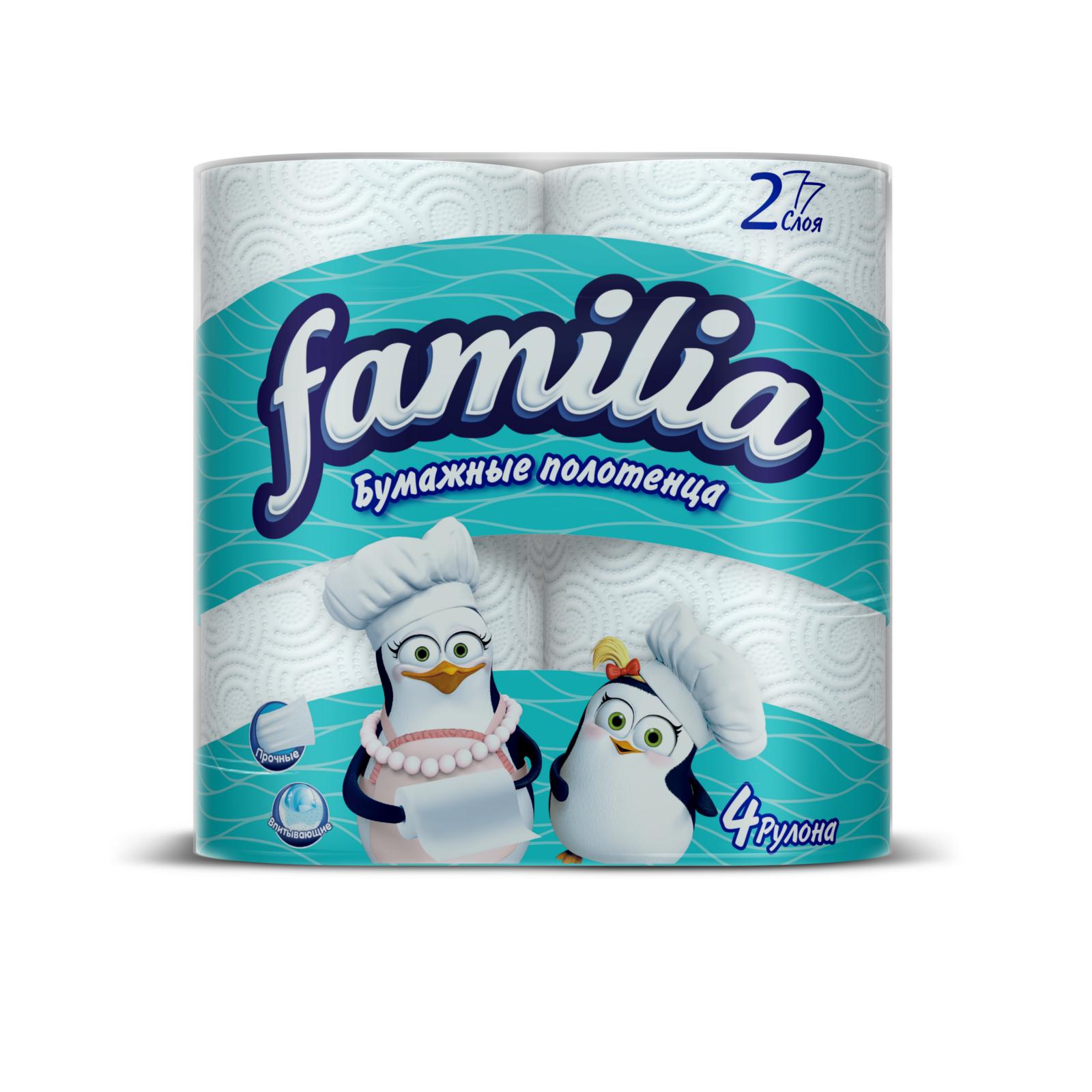 Полотенца бумажные Familia белые (2 слоя) 4 шт<br>