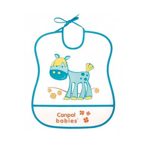 Нагрудник Canpol Babies с полимерным покрытием бирюзовый (с 6 мес)<br>