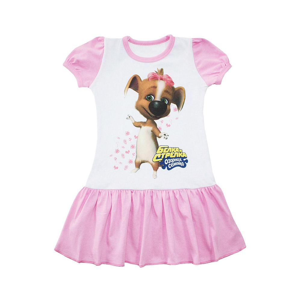 Платье Котмаркот Озорная семейка-Белка и Стрелка рост 104 розовый<br>