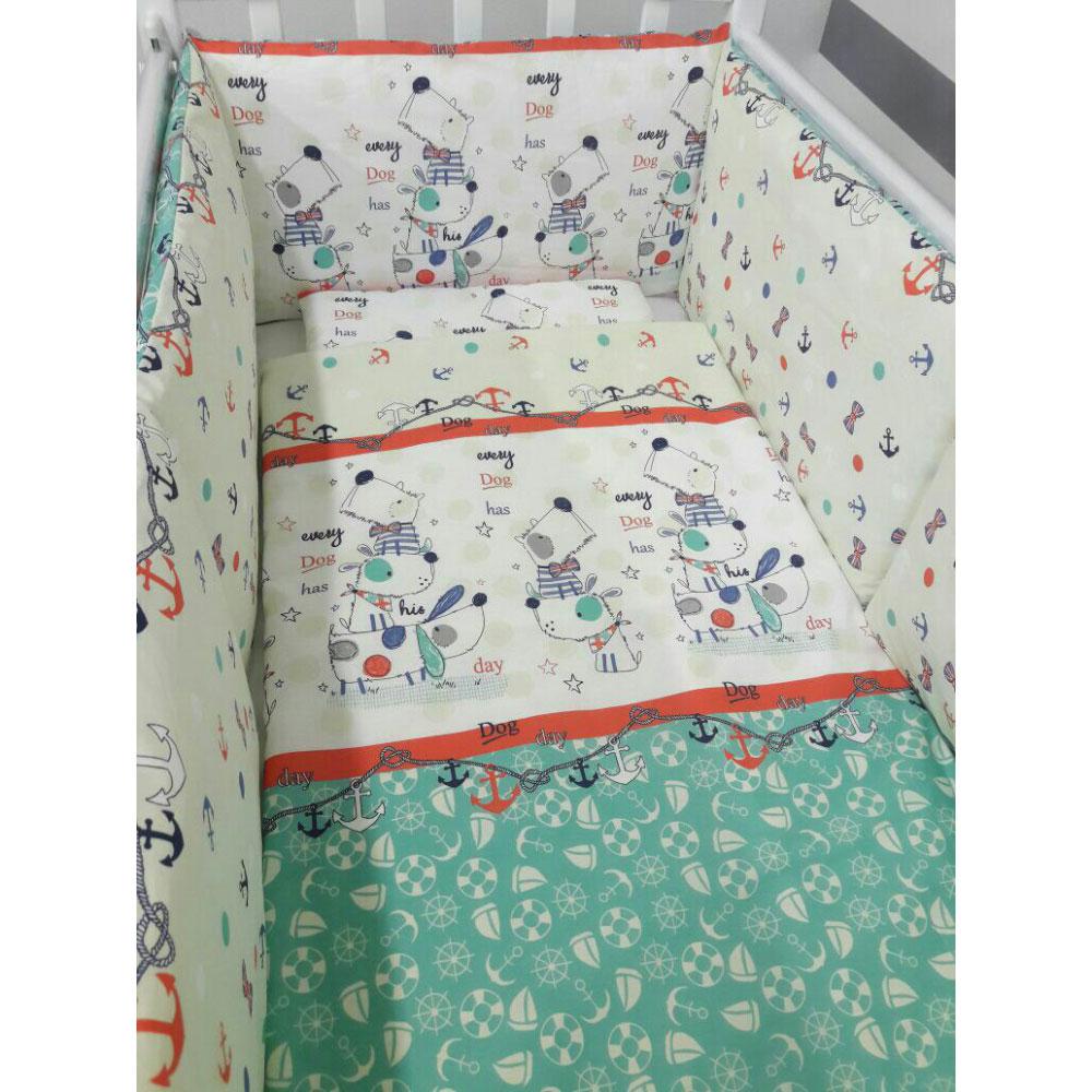 Комплект в кроватку ByTwinz 6 предметов Веселый щенок<br>