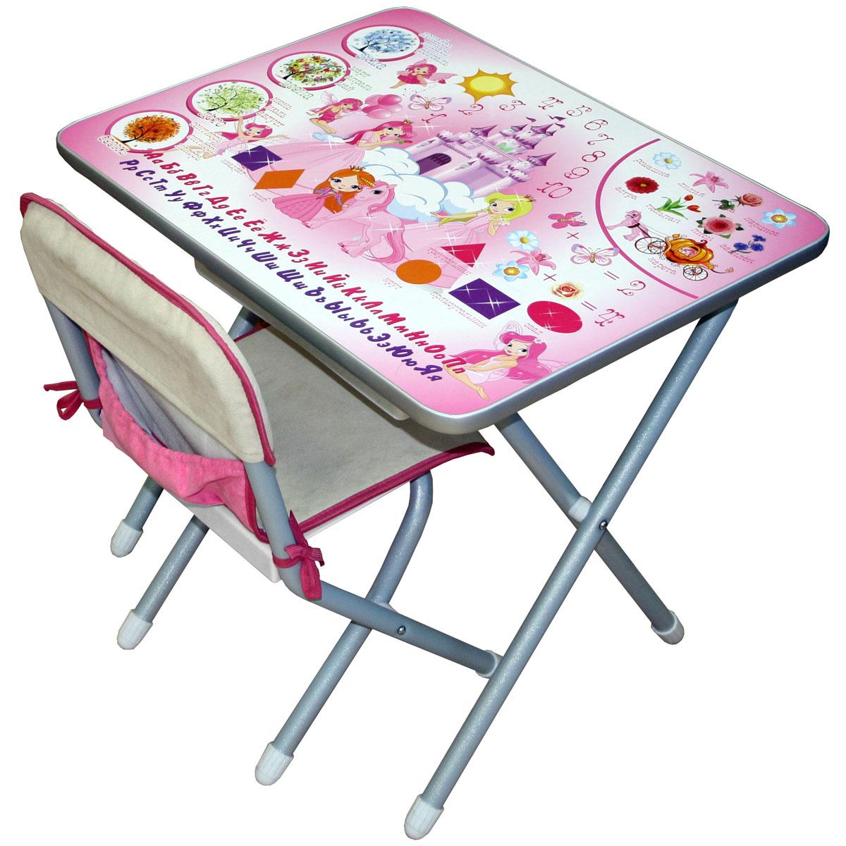 Набор мебели стол и стул Дэми №2 Принцессы Серебристый<br>